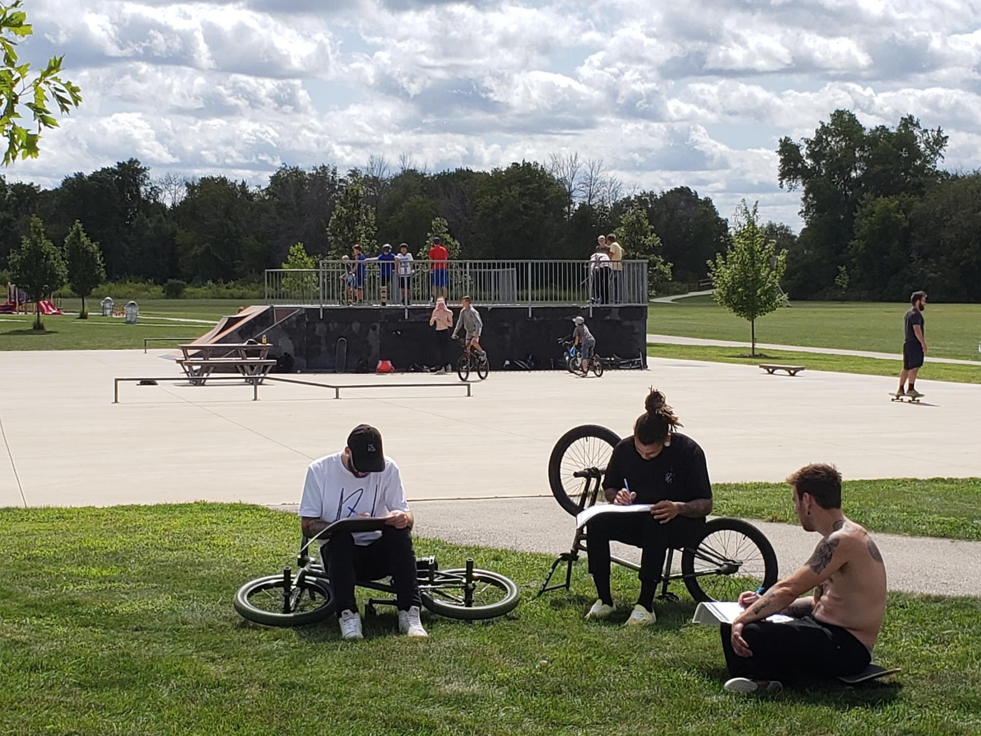 People participating in the Skate Park Design Workshop at Abendschein Park