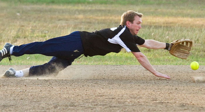 Softball Player Diving for a catch
